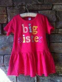 Big Sister Dress- Sibling Dress- Big Sister Little Sister- You Choose Dress Color and Sleeve Length