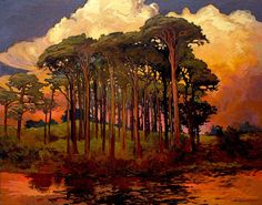 Riverbank Pines  Giclee Fine Art PRINT of Original by gallery28