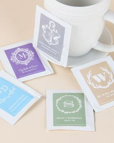 Brew up a tasty wedding day treat with these personalized tea bag favors. Each tea bag contains a traditional blend of flavorful black tea and comes sealed in a glossy foil envelope!