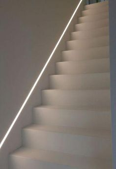 LED recessed spotlights above the stairs - Safe & classy Absinthe LED -. - LED recessed lights above the stairs – Safe & classy Absinthe LED strips - Staircase Lighting Ideas, Stairway Lighting, Staircase Design, Strip Lighting, Interior Lighting, Home Lighting, Kitchen Lighting, Led Stair Lights, Recessed Spotlights