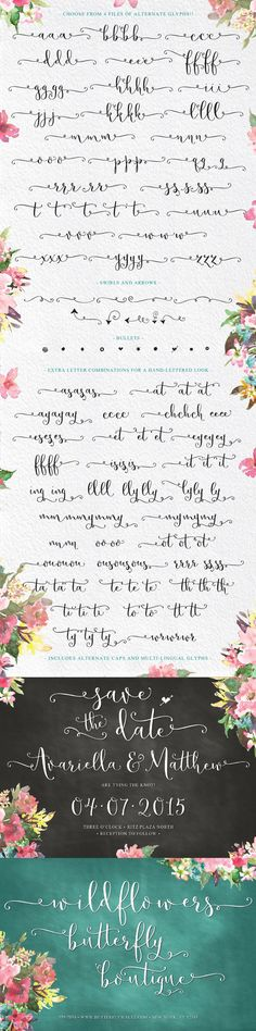 Butterfly Waltz, Hand-lettered, Calligraphy, Script, Alternate Glyphs, Sweet Type