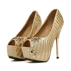 Show off that romantic look using this gorgeous high heel shoes. Features open toe, thin high heels, slip on design, platform and over all sequines details. Beautifull crafted from PU, soft leather an