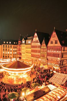 The Weinachtsmarkt (Christmas Market), Frankfurt, Germany  One of my favorite past Christmas memories having gluwein in the snow at this Weinachtsmarkt in 2010