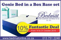 We've got just the bed for you and it's on a 10% discounted offer: Our Genie Bed in a box Base Set has a long list of specifications to suit everyone's needs, it's not only easy to install the bed offers no pressure points and no motion transfer with the added spine support to finish this amazing bed off.  What are you waiting for? Get your Genie Bed Base Set at Bedmat Today! Visit our online shop for more information on our products #bedmat #geniebedinabox #fantasticdeal