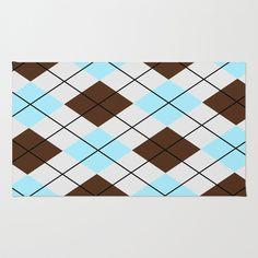 Chocolate and blue #argyle design #rug