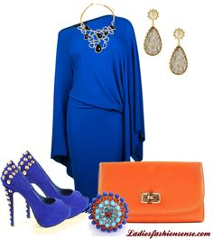 """Blue & Orange"" by ladiesfashionsense on Polyvore"