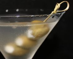 Gorgonzola stuffed Olives in a Dirty Vodka Martini. My favorite!