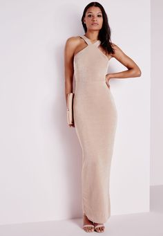 Slinky Maxi Dress Nude - Dresses - Maxi Dresses - Missguided