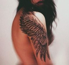 One of the best angel wings I've seen. I would love this on my forearm or side.