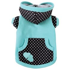 Adorable aqua and black & white polka dot dog hoodie!
