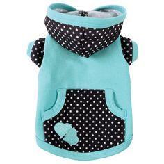 Adorable aqua and black & white polka dot dog hoodie!