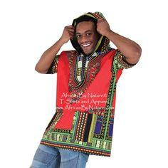 93184373a53 Kenyan Traditional Print Dashiki Hoodie (Red)
