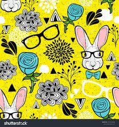 Seamless pattern with hipster rabbit. Cartoon vector illustration of hares.  Doodle endless wallpaper in blue roses. #illustration #pattern #background #ekapanova #rabbit #easter #roses #hipster #spring #summer