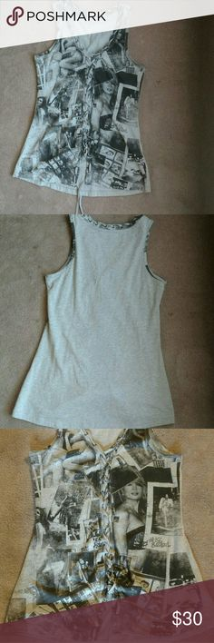 Guess tank top xs gray Guess tank top. Xsmall with string laced through entire front and ties off. Gently used but in great shape. Guess Tops Tank Tops