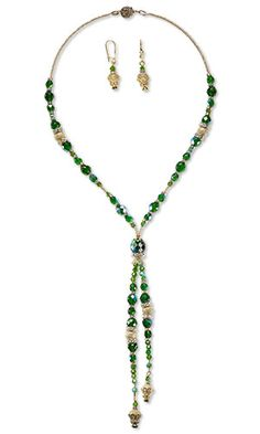 Designer Gulten Dye: Single-Strand Necklace and Earring Set with Glass Beads, Swarovski Crystal and Gold-Plated Brass Beads and Gold-Plated Brass Stardust Beads