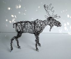 Unique Wire Animal Sculpture  BULL MOOSE by wireanimals on Etsy