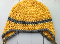 Crochet Toddler Ear Flap Beanie  Yellow with by ChucksForChancho, $14.00