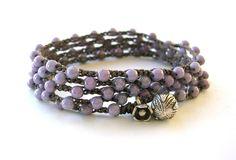 "Lilac crochet wrap bracelet, fine silver charms ""Lotus"" Bohemian jewelry, flower, crochet necklace, boho, pastel lavender, yoga bracelet. Etsy."