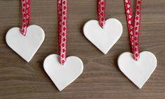 Keramische Witte Harten Ornamenten Minimalistisch door Ceraminic