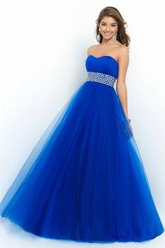 2015 Prom Dress Strapless A Line/Princess Pick Up Tulle Skirt Beaded Waistline USD 149.99 LDP1P4C17A - LovingDresses.com
