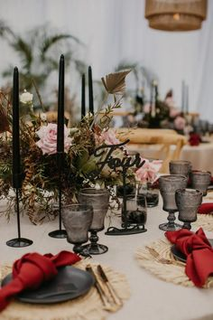 This Black and burgundy tablescape with gold cutlery and raffia place-mat worked beautifully for Contemporary Coastal Chic Topical Wedding Chic Wedding, Our Wedding, Clear Marquee, Wedding Planner, Destination Wedding, Gold Cutlery, Marquee Wedding, Happy Day, Tablescapes