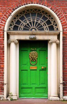 Magnificent Lion Door Knocker on a Gorgeous Green Door in Dublin, Ireland.  Love this!!