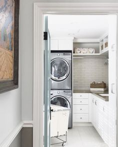 5 Small Laundry Room Storage Ideas Shelves Washer And Dryer 57 Small Laundry Rooms, Laundry Room Organization, Laundry Room Design, Laundry Decor, Small Utility Room, Garage Laundry, Laundry Basket, Small Bathroom, Stackable Washer And Dryer