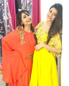 Image may contain: 2 people, people standing Hiba Nawab, Beautiful Actresses, Eid, One Shoulder, Sari, Princess, Yellow, Cute, People People