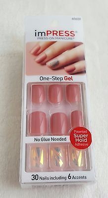 4 Design Choices Kiss Impress One Step Gel Manicure 30 Nails Includes 6 Accents Impress Nails Acrylic Nail Kit Nail Kit