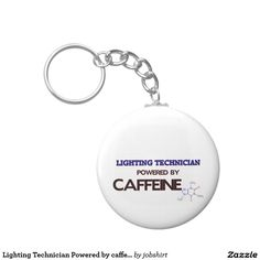 Lighting Technician Powered by caffeine Basic Round Button Keychain