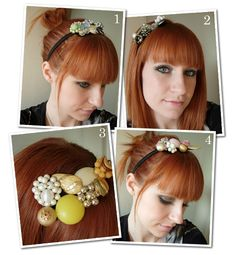 I'm on a hair piece kick, and I love this idea!  I love the inexpensive vintage jewelry at flea-markets/ garage sales (especially broaches, but I never wear them).  This would give me something to do with them!