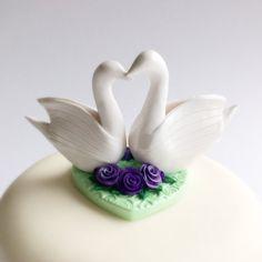 Swan wedding cake topper in purple and mint green by fizzyclaret