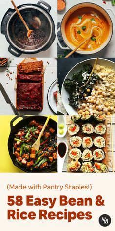 Stocked up on beans and rice and not sure what to do with them? We've gathered easy bean and rice recipes utilizing ingredients you likely have right now! Bean Recipes, Rice Recipes, Veggie Recipes, Vegetarian Recipes, Healthy Recipes, Baker Recipes, Veggie Food, Recipies, Vegan Iron