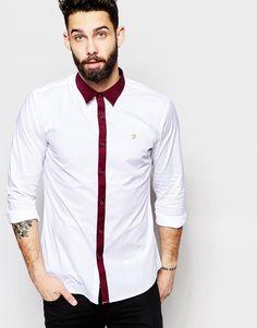 Image 1 ofFarah Shirt with Contast Placket Slim Fit