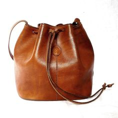 MANUEL French Vintage Brown Leather Draw String Shoulder Bag. Beautiful. Sold out here :(