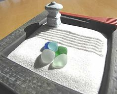 beach+glass+garden | Zen Garden. Comes with sea glass, white sand, rake and pagoda. Cobalt ...