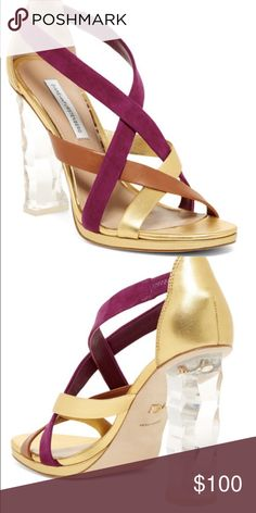"""🆕 Diane von Furstenberg Ibiza Lucite Runway Heel From DVF's Spring 2016 NY Fashion Week runway show & still sold online. Suede & leather vamp straps. Slip on with an elastic bit for a sure fit. Fabulous geometric, illuminating clear lucite heels. In gold leather, summer beet & biscuit suede. Approx. 4.25"""" heel, 5/8"""" platform. Leather & Suede upper, leather lining & sole. Marked size 35.5. ‼️NO OFFERS‼️This is the lowest price you will find for a brand new pair of Ibiza. MSRP $348. Also…"""