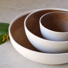 Slipcast bowls by Kim Wallace Ceramics ~ rust