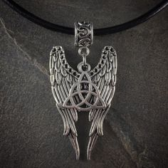 Silver Angel Wings Triquetra Trinity Knot Pendant Charm Necklace Spiritual | eBay