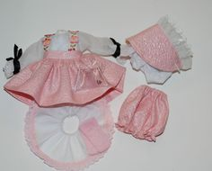 "REMAKE> 8"" Doll Pink Long Sleeve DRESS + HAT + Bloomers + Slip + Socks + Purse"