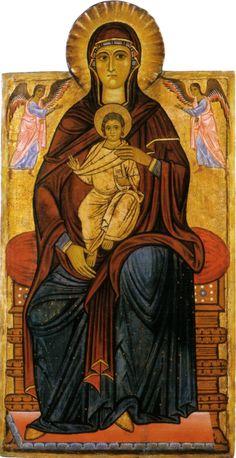 Maestro del Bigallo - Madonna col Bambino in trono e due angeli (o Madonna Bardini) - tempera su tavola - 1230 circa - Galleria degli Uffizi a Firenze.
