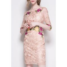 Vintage Hollow Out Lace Spliced Floral Embroidered Dress For Women