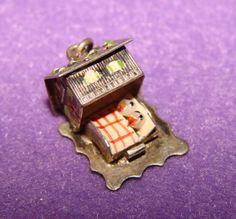 Mechanical DUCKS IN HOUSE Sterling & Enamel Movable Vintage Estate Charm
