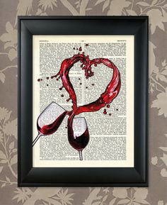 Spilled Wine Heart / Kitchen - Dining Room Decor Piece / Upcycled Dictionary Antique book page Art Print / Vintage Greek Encyclopedia Poster...