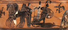 Lekythos funerary vase (detail) depicting Achilles dragging Hector's body by chariot, Delos, sixth century BCE