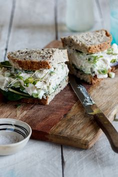 Gorgeous chicken salad sandwich made with celery, red onion, grapes, and Greek yogurt and sprinkled with micro rocket/arugula greens - Simply Delicious