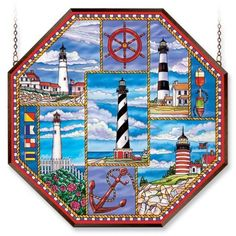 Amia Window Decor Panel Lighthouse Collage Design Hand-Painted Glass 22in W x 22 #Amiaglass