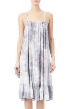 Tie dye baby doll dress with spaghetti straps, ruffled bottom and a t-back. Babydoll Dyed Dress by Mono B. Clothing - Dresses - Printed Clothing - Dresses - Knee Clothing - Dresses - Casual California