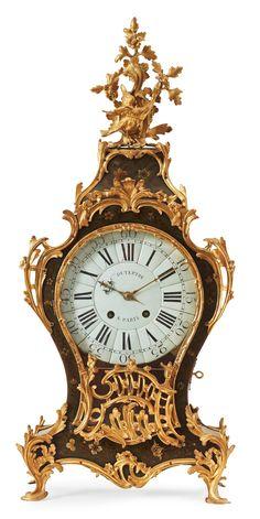 "A LOUIS XV 18TH CENTURY MANTEL CLOCK. Dial marked ""C LS DUTERTRE A PARIS"". Height 98, width 43 cm."