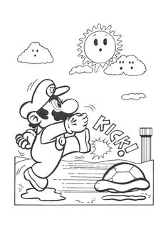 Super LikeLikes Video Game Art Retro Mario Bowser Coloring Book Pages